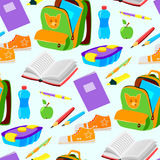 Schul- oder des Büroartikelspädagogisches Zubehör vector nahtlosen Musterhintergrund der Illustration lizenzfreie abbildung
