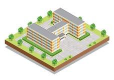 Schul- oder Hochschul- oder Collegegebäude Isometrisches Konzept des flachen Designnetzes Stockfotos