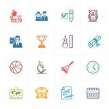Schul-u. Bildungs-Ikonen stellten 3 - farbige Reihe ein Lizenzfreies Stockbild