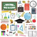 Schul- und Bildungsarbeitsplatzeinzelteile Flache Illustration des Vektors des Schulbedarfs Stockfotografie