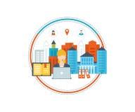 Schul- und Hochschulgebäudeikone Städtische Landschaft Lizenzfreie Stockfotos