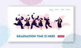 Schulabgänger in den Kleidern und in Kappen, die oben glückliches springen und zujubeln, Diplom-Zertifikat und Endhochschulausbil lizenzfreie abbildung