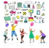 Schulaktivitäts-Sport-Hobby-Freizeit-Spiel-Konzept Stockfotografie