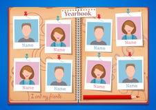 Schulalbumjahrbuch und -offenes Buch Stockbild