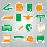 Schulaufkleberikone gesetztes eps10 Lizenzfreie Stockfotos