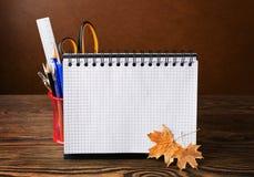 Schulausrüstung mit Bleistiften, Notizbuch und trockenem Herbstlaub Lizenzfreie Stockfotografie