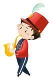 Schulband-mitglied, das Saxophon spielt Stockbilder