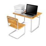 Schulbank 3d und Laptop Lizenzfreie Stockbilder