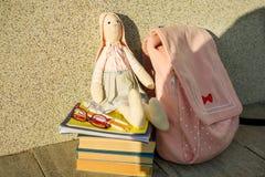 Schulbedarf - ein Spielzeug, Gläser, Rucksack, Bleistifte, Notizbücher, Lizenzfreies Stockfoto