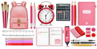 Schulbedarfrosa gesetzter Vektor realistisch Wecker-, Taschenrechner-, Notizbuch- und Stiftwerkzeuge Ausführliche Illustrationen  stock abbildung