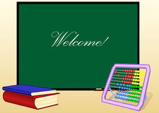 Schulbehörde und Bücher und Rechenmaschine Lizenzfreies Stockbild