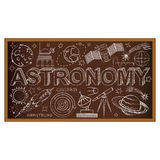 Schulbehördegekritzel mit Astronomiesymbolen Vektor Lizenzfreie Stockfotos