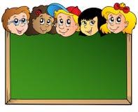 Schulbehörde mit Kindgesichtern Stockbilder