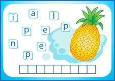 Schulbildung Englisches flashcard für das Lernen von Englisch Wir schreiben die Namen des Gemüses und der Früchte Wörter ist ein  lizenzfreie abbildung