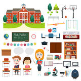 Schulbildung in Verbindung stehende Infographics-Elemente Stockbilder