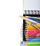 Schulbriefpapier lokalisiert über Weiß lizenzfreie stockbilder