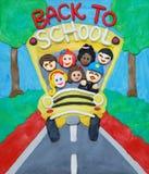 Schulbus auf Plasticine Lizenzfreies Stockbild