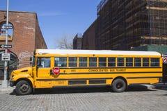 Schulbus in Brooklyn Stockfotografie