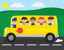 Schulbus-Kinder lizenzfreie abbildung