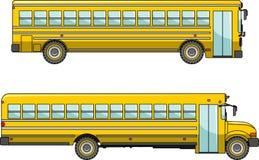 Schulbus lokalisiert auf weißem Hintergrund in der Ebene Stockfotos