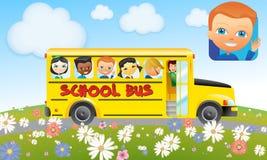 Schulbus mit Kindern - gelber Bus (Jungen und Mädchen) Stockfoto