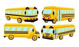 Schulbus-Schablonen-Vektor lokalisierte Design-Satz Stockfotos