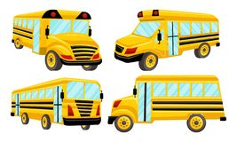 Schulbus-Schablonen-Vektor lokalisierte Design-Satz Lizenzfreies Stockbild