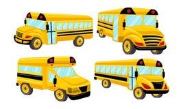 Schulbus-Schablonen-Vektor lokalisierte Design-Satz Lizenzfreie Stockfotografie