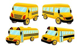 Schulbus-Schablonen-Vektor lokalisierte Design-Satz Lizenzfreie Stockfotos