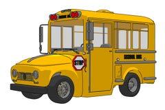 Schulbuskarikaturillustration lokalisiert auf weißem Hintergrund lizenzfreie abbildung