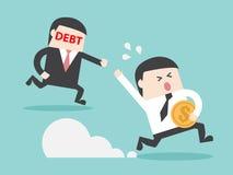 SCHULD jagende grijpende zakenman met geld vector illustratie