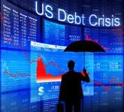 Schuld-Krise Geschäftsmann-Facing US Lizenzfreies Stockbild