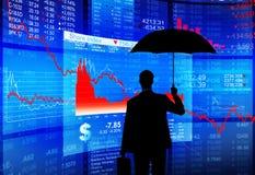 Schuld-Krise Geschäftsmann-Facing US Stockbild
