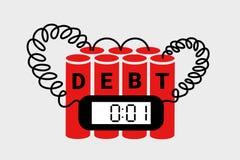 Schuld und verschuldete Wirtschaft als explosive Bombe, die führen, um einzustürzen, Zusammenbruch, Finanzkrise und Konkurs stock abbildung