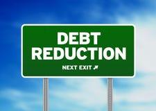 Schuldenreduzierungs-Verkehrsschild Stockfotografie