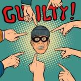 Schuldiger Diebräuber, Hände zeigen auf die Mitte lizenzfreie abbildung