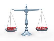 Schuldposten und Gutschrift des Wortes 3d auf Skala Lizenzfreie Stockbilder