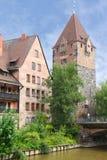 Schuldturmtoren in Nuremberg, Duitsland Stock Afbeelding