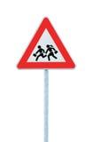 Schule-Überfahrt-Straßenrand-Warnzeichen getrennt Stockbild