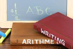 Schule-Bücher und Tafel Stockfotografie