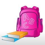 Schule-Beutel mit Büchern stock abbildung