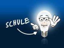 Schule-Birnen-Lampen-Energie hellblau Stockfotos