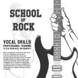Schule des Felsenplakats Hand, die Gitarre hält Schwarzweiss-Weinleseillustration Lizenzfreie Stockfotos