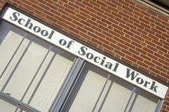 Schule des Sozialarbeits-Zeichens, Universität von Iowa, Iowa City, Iowa Lizenzfreies Stockbild