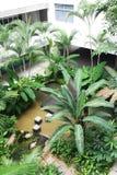 Schule, die mit Teich landschaftlich verschönert Stockbilder