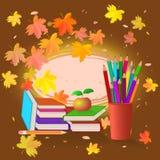 Schule eingestellt auf Herbsthintergrund Lizenzfreies Stockfoto