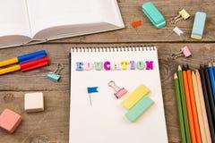 Schule eingestellt mit Aufschrift von Lizenzfreie Stockfotos