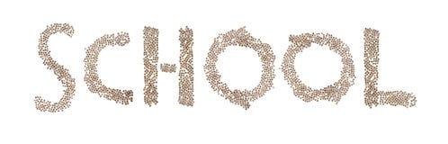 Schule geschrieben mit kleinen Würfeln Stockbild
