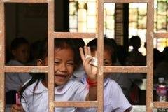 Schule hinter Stäben Lizenzfreies Stockfoto