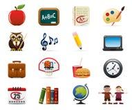 Schule-Ikonen-Set Lizenzfreie Stockfotos